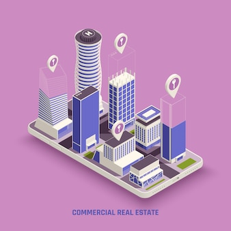Kompleks budynków nieruchomości komercyjnych na ekranie mobilnym z izometryczną ilustracją symbolu lokalizacji