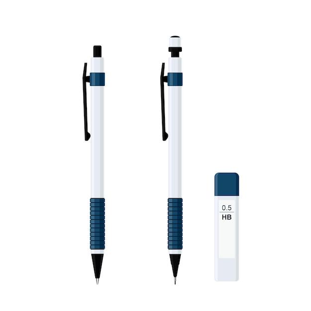 Komplet automatycznego długopisu sprężynowego w białym plastikowym etui z gumowym uchwytem i ołówkiem mechanicznym z paczką wkładów do ołówków 0,5 hb. płaskie wektor ilustracja na białym tle