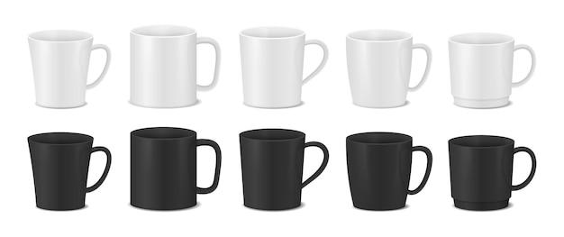 Komplet białych i czarnych filiżanek. realistyczne kubki do kawy.