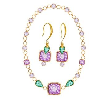 Komplet biżuterii składający się z kolczyków i bransoletki, naszyjnika. zielona kropla, fioletowy kwadrat i okrągły kryształowy kamień ze złotym elementem.