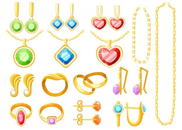Komplet biżuterii złotej. kolekcje złotych pierścionków, kolczyków, łańcuszków i naszyjników. akcesoria jubilerskie. ilustracja na białym tle