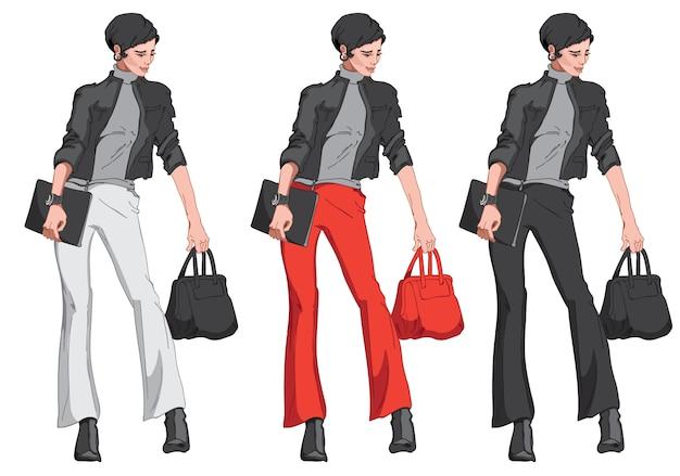 Komplet czarnowłosej kobiety w kurtce, spodniach, swetrze, butach, z torebką i notesem w dłoni. nowoczesny elegancki i stylowy strój biznesowy