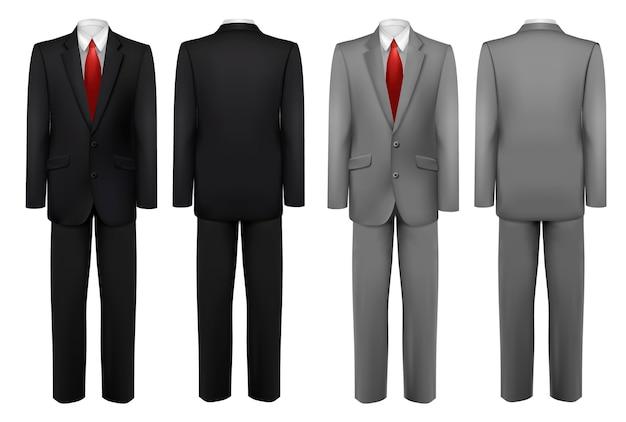 Komplet czarnych i szarych garniturów.