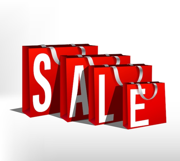 Komplet czerwonych toreb papierowych sprzedaż różnej wielkości. partia opakowaniowa na zakupy paczka na zakupy z białymi uchwytami linowymi lub napisem. plakat sprzedaży rabatów