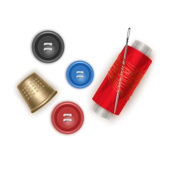 Komplet elementów do szycia, czerwona nić z igłą, guziki i naparstek, w realistycznym stylu, ilustracja