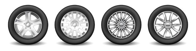 Komplet kół zapasowych do felg samochodowych z błyszczącymi felgami aluminiowymi i gumowymi oponami ochronnymi. koncepcja koła transportowego i tuningu. realistyczna ilustracja wektorowa 3d