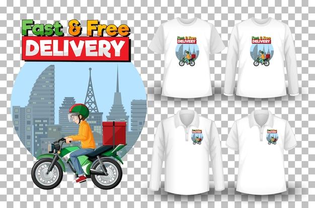 Komplet koszulek z motywem dostawy