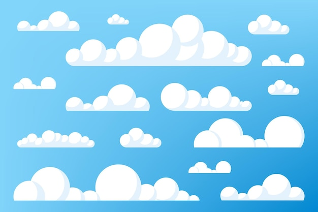 Komplet kreskówka chmury na niebieskim niebie