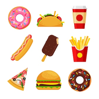 Komplet kreskówka fast food. frytki, hot dog, pizza, tacos, burger, pączki, lody, napoje gazowane.