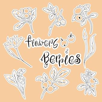 Komplet kreskówka kwiaty. jagody i kwiaty ikony. zestaw ilustracji. sezon letni. logo żywności.