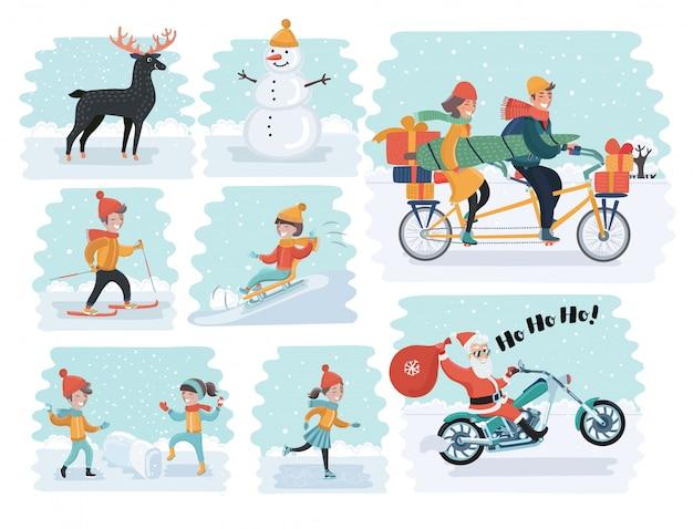 Komplet kreskówka ludzie w zimowe ubrania. obejmuje różne style życia i różne grupy wiekowe, takie jak biznesmen, mężczyzna, kobieta, nastolatki, dzieci, seniorzy, para. ilustracje postaci do projektowania.