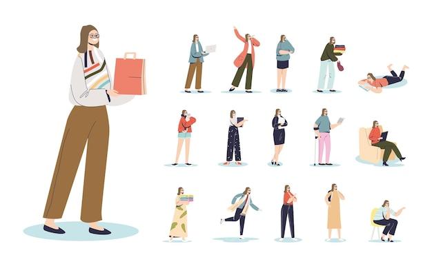 Komplet kreskówka młoda kobieta trzyma torbę na zakupy w różnych sytuacjach życiowych i pozach: z laptopem, bizneswoman gospodarstwa dokumenty, jazda na łyżwach, siedzieć rozmawiając. płaska ilustracja wektorowa