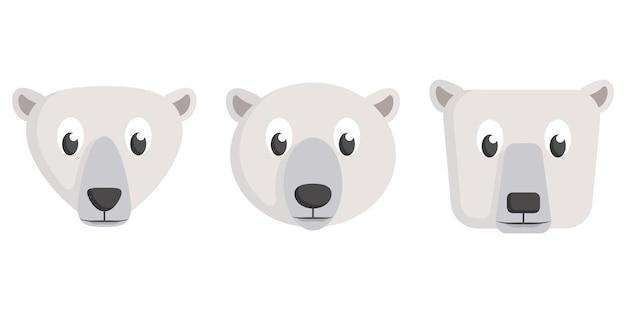Komplet kreskówka niedźwiedzie polarne. różne kształty twarzy zwierząt.