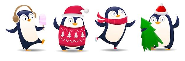 Komplet kreskówka pingwina
