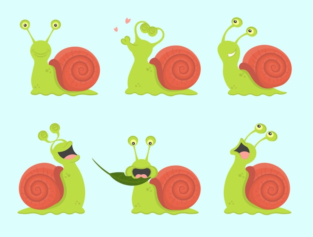 Komplet kreskówka ślimaki. słodka, zakochana, śmiejąca się, wystraszona, głodna, biegająca. ilustracji wektorowych.
