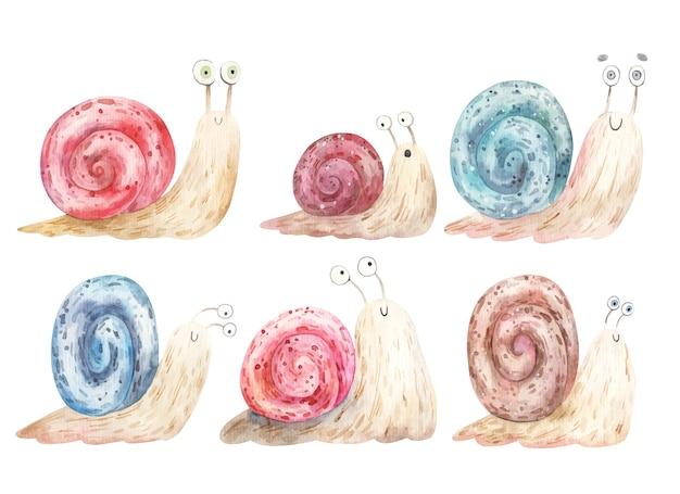 Komplet kreskówka ślimaki z dużymi oczami i kolorowymi muszlami, ilustracja.