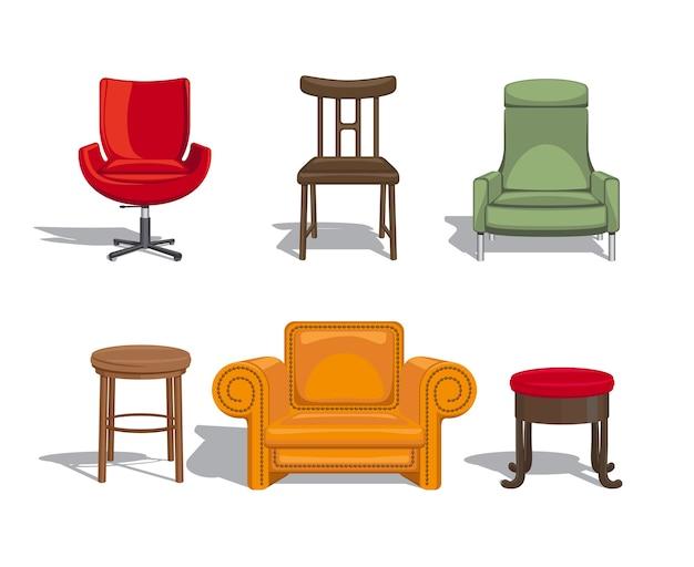Komplet mebli do siedzenia. krzesła, fotele, hokery ikony. ilustracji wektorowych