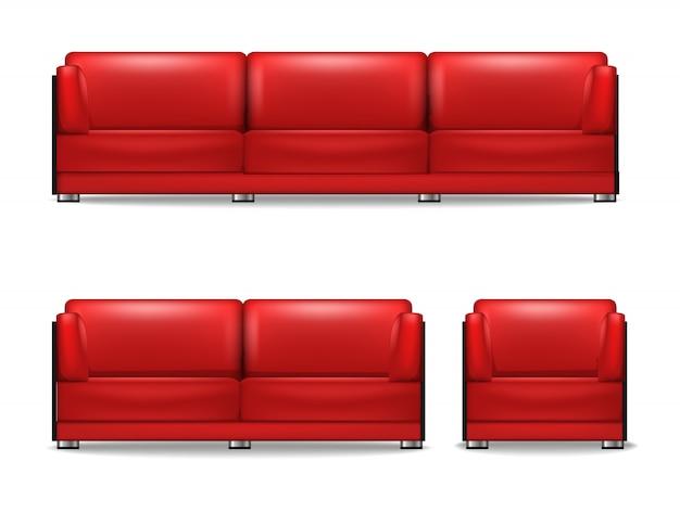 Komplet mebli tapicerowanych do salonu, sofa do spania, fotel i sofa gościnna w kolorze czerwonym.