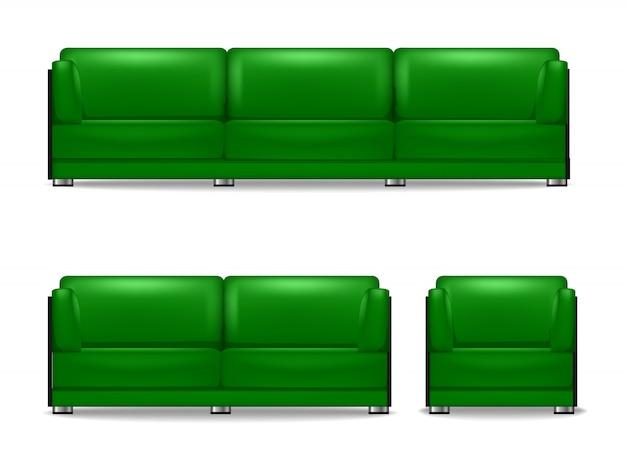 Komplet mebli tapicerowanych do salonu, sofa do spania, fotel i sofa gościnna w kolorze zielonym. wewnętrzna kanapa do domu meble biurowe do wypoczynku