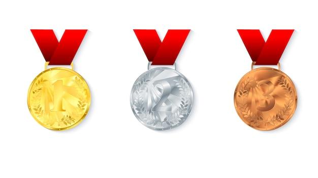 Komplet medali ze złota, srebra i brązu.