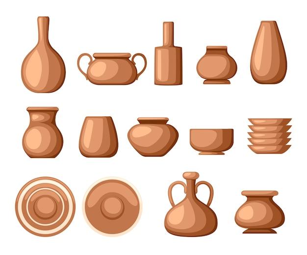 Komplet naczyń glinianych. naczynia kuchenne - talerze, dzbanki, garnki. brązowa glina. ilustracja