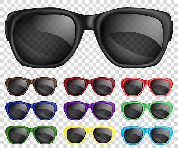 Komplet okularów przeciwsłonecznych z wielokolorowymi oprawkami i przezroczystymi okularami.