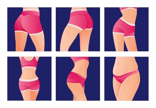 Komplet perfect szczupłe stonowane młode body dla kobiet