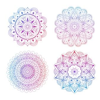Komplet pięknych mandali i koronkowych kółeczek. okrągły wektor gradientu mandali. tradycyjny orientalny