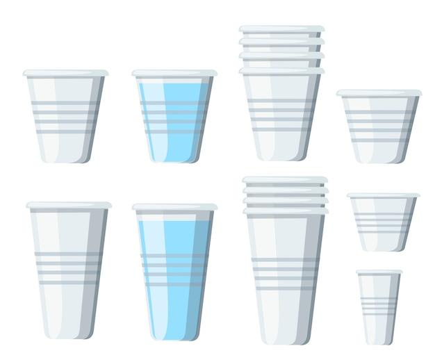 Komplet plastikowych kubków. przezroczyste jednorazowe kubki o różnych rozmiarach. puste szklanki i wodę. ilustracja na białym tle