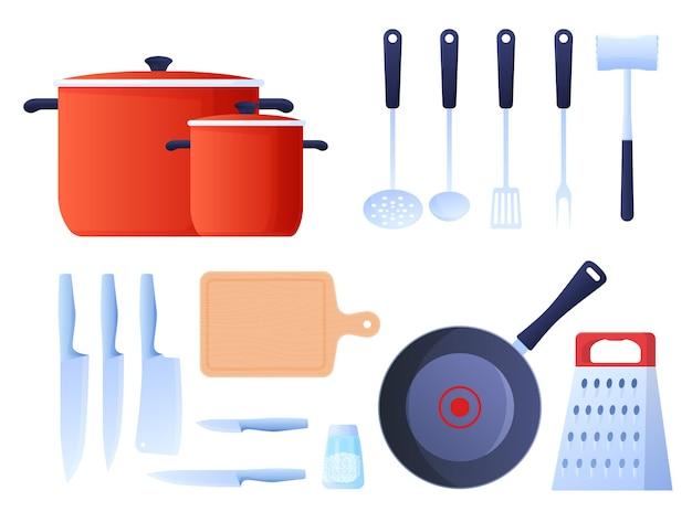 Komplet przyborów kuchennych do gotowania, garnki, noże, tarki, chochla, patelnia, młotek kuchenny. kolorowa ilustracja w stylu cartoon płaski.