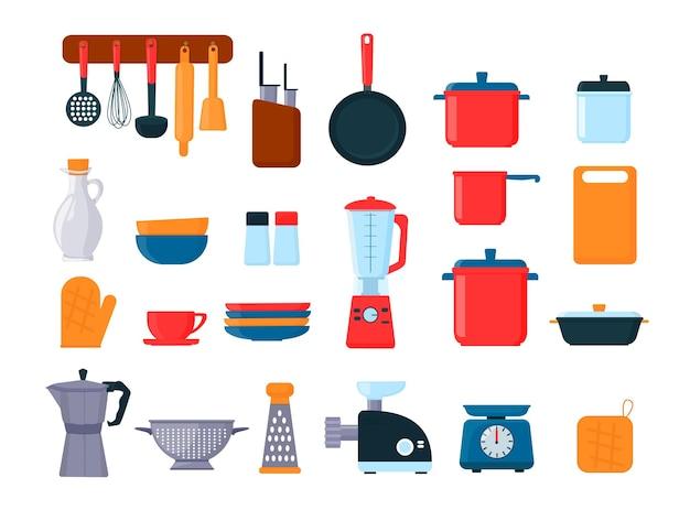 Komplet przyborów kuchennych, naczyń, sprzętu kuchennego, sztućców. wektor