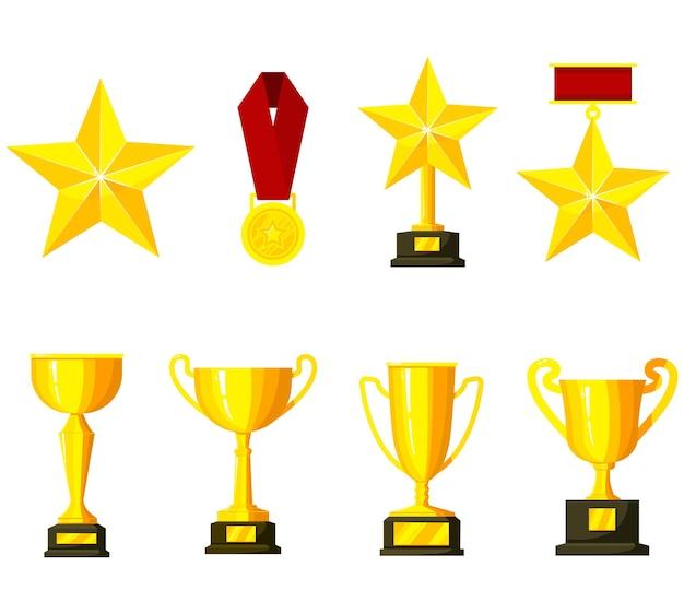 Komplet pucharów, trofeów, medali, gwiazdek. prosty symbol zwycięzcy. złote nagrody.