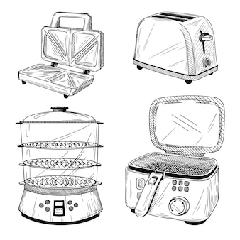Komplet sprzętu kuchennego. toster, parowiec, frytkownica na białym tle. ilustracja stylu szkicu.