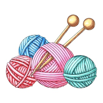 Komplet wełnianych kulek do robienia na drutach.