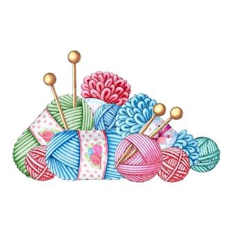 Komplet wełnianych kulek na drutach.