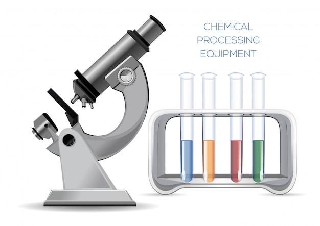Komplet wyposażenia laboratoryjnego - mikroskop i probówki z kolorowymi odczynnikami. ilustracja