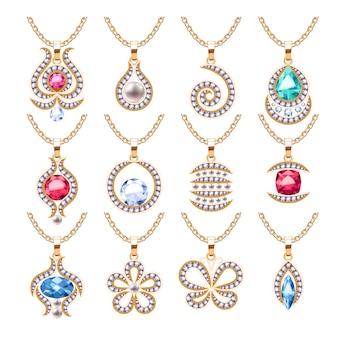 Komplet zawieszek do biżuterii. złote łańcuchy z kamieniami szlachetnymi. cenne naszyjniki z brylantami, perłami, rubinami. ilustracja. dobre dla sklepu jubilerskiego.
