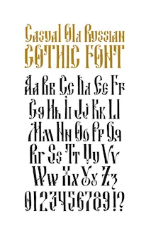 Kompletny alfabet staroruskiej gotyckiej czcionki