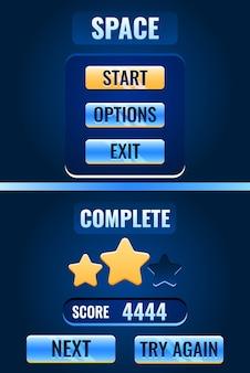 Kompletny interfejs ekranu gry kosmicznej dla elementów zasobu gui