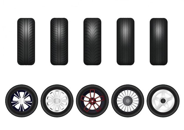 Kompletny zestaw kół samochodowych z felgami aluminiowymi.
