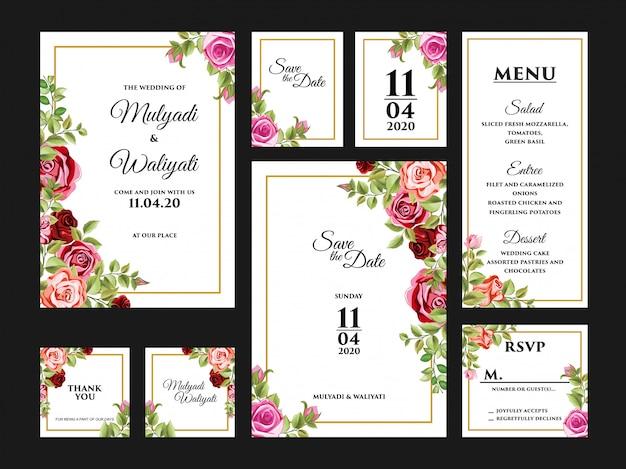 Kompletny zestaw szablonu projektu karta zaproszenie na ślub