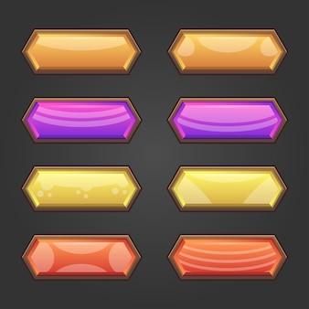 Kompletny zestaw wyskakujących okienek, ikon, okien i elementów gry z przyciskami poziomu
