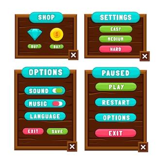 Kompletny zestaw wyskakujących okienek z przyciskami poziomów, ikon, okien i elementów do tworzenia średniowiecznych gier rpg