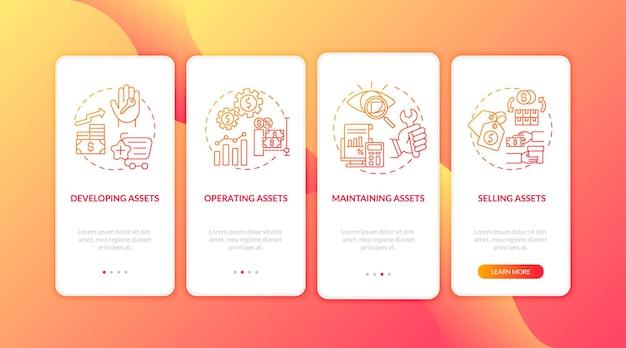 Komponenty zarządzania kapitałem wprowadzające ekran strony aplikacji mobilnej z koncepcjami. kontrola, sprzedaż aktywów, cztery kroki, instrukcje graficzne. szablon ui z kolorowymi ilustracjami