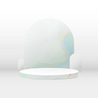 Kompozycja 3d na podium. streszczenie minimalne tło geometryczne. marmurowa tekstura. miejsce na twój projekt.