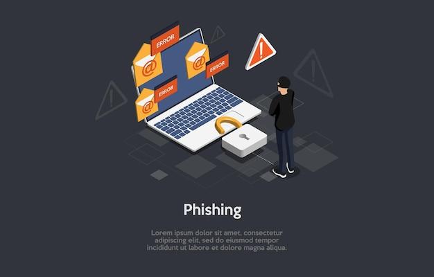 Kompozycja 3d, sztuka izometryczna. pomysł na zagrożenie phishingiem w internecie.