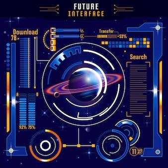 Kompozycja abstrakcyjna interfejsu przyszłości