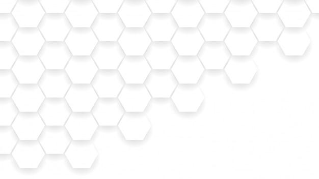 Kompozycja abstrakcyjna kształty sześciokątne. kolor biały i szary tło.