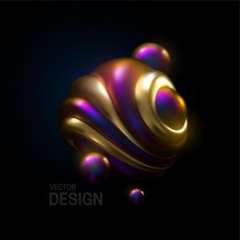 Kompozycja abstrakcyjna z 3d kulistymi bąbelkami