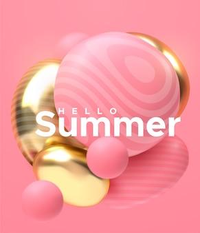 Kompozycja abstrakcyjna z 3d miękkim klastrem ciała kolorowe błyszczące bąbelki. realistyczna ilustracja różowych i złotych kulek.